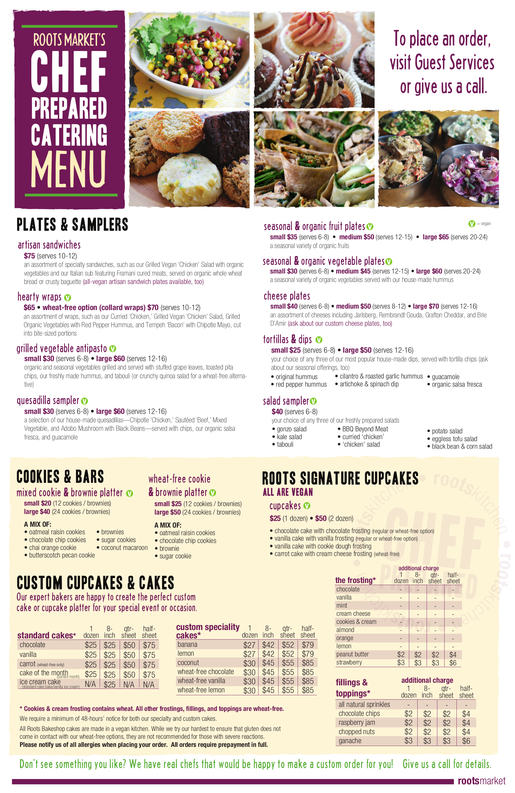 Roots Market - Catering Menu